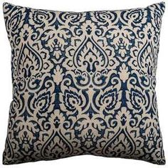 Rizzy Home Blue Cotton Damask Throw Pillow | Overstock.com Shopping - The Best Deals on Throw Pillows