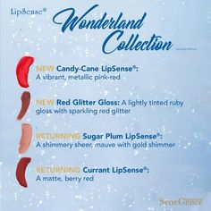 Grab the entire Limited Edition Wonderland Collection by SeneGence released November 2018 today.  Includes 3 LipSense LipColors: Sugar Plum, Candy Cane and Currant as well as Red Glitter Gloss.  Comes in a gorgeous Red, Glittery Cosmetic bag!  #glitter #wonderland #wonderlandcollection #lipsense #senegence