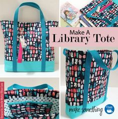 Sewing Tutorial: Make a Library Tote Bag. Make this project for kids & summer fun. Uses Dritz sewing supplies: bag hardware, belting, magnetic snap.