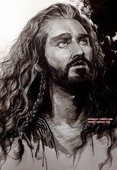 """Evankart """"Thorin Oakenshield, ink, water color and color pencil."""""""