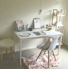 Sheepskin covered stool.