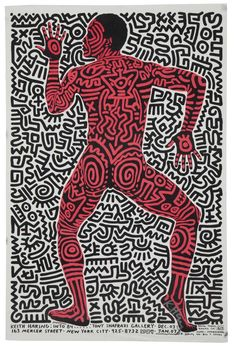 Keith Haring - Exhibition poster for the Tony Shafrazi Gallery in New York, 1984 - illustrations Keith Haring Poster, Keith Haring Prints, Keith Haring Art, Graffiti, Tv Movie, Keith Allen, Exhibition Poster, Illustrations, Illustration Art