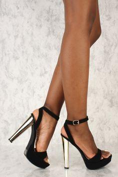c3a7bb6ffa2 Sexy Black Open Toe Platform Metallic High Heels Nubuck. Metallic High Heels
