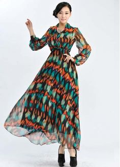 Bohemia Style Pattern Chiffon Sheared Waist Long Sleeve Maxi Dress with cheap wholesale price, buy Bohemia Style Pattern Chiffon Sheared Waist Long Sleeve Maxi Dress at wholesaleitonline.com !