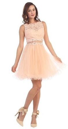 Short Cute Prom Dress Cocktail Homecoming Lace Formal - The Dress Outlet - 6