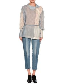 -75NT Stella McCartney  Kimberly Mixed-Denim Cropped Straight-Leg Jeans, Medium Blue Caterina Striped Asymmetric-Button Blouse, White/Blue