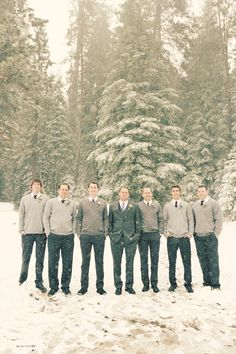 Snowy Winter Wedding with the men in warm sweaters!