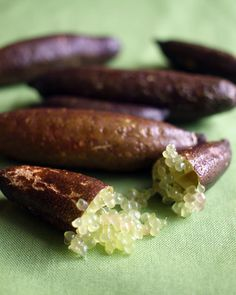 If you find yourself in the outback, try and get your hands one these Fingerlimes, a native Australian bush food. Aussie Food, Australian Food, Australian Recipes, Native Foods, Food Technology, Exotic Fruit, Fruits And Veggies, Vegetables, Wine Recipes