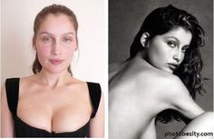 Famous models with and without makeup