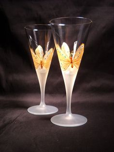 Gold Butterfly Hand Painted Toasting Glasses by skyspirit8studios, $65.00