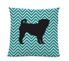 Chevron Pug Pillow - Pug Silhouette Pillow - Modern Home Decor Living Room - Teal White Chevron - dog home decor - Chevron Pillow