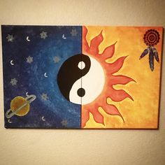 40 Best Canvas Painting Ideas For Beginners Multi Canvas Painting, Cute Canvas Paintings, Small Canvas Art, Moon Painting, Mirror Painting, Yin Yang, Painting Inspiration, Art Drawings, Sewing Clothes