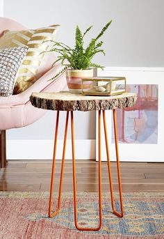 DIY Tree Slab Side Table with Hairpin Legs — Emily Henderson | Apartment Therapy