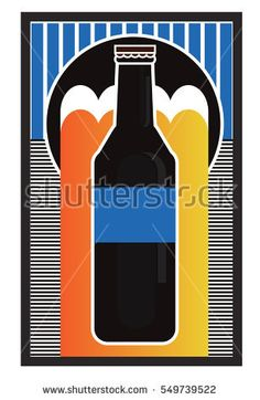 Bottle beer retro poster. Isolated  with abstract elements. Composition of complex geometric shapes with beer. Style of modern art and graffiti bottle beer.