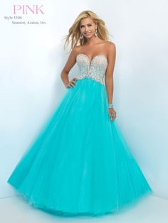 #BLUSHPROM #PROM #5506 Blush Prom - 5506. Available in Seamist, Azalea & Iris. Universal style that's simple with just enough sparkle. Featuring a sweetheart neckline and a natural waisted bodice embellished with a unique ombre of crystals and sequins. Complete with a tulle skirt and finished hem.