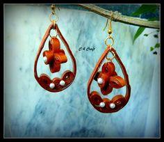 handmade paper earring (metalic copper colour)