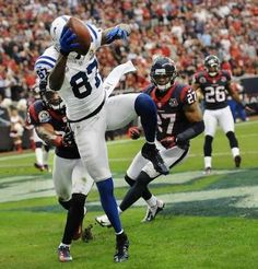 Colts wide receiver Reggie Wayne hauls in a pass that was called a touchdown then nullified in the first half of Sunday's game. The Colts lost 29-17 to the Houston Texans at Reliant Stadium on December 16, 2012. (Matt Detrich / The Star)