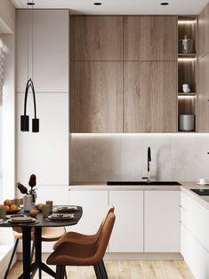 Kitchen Room Design, Kitchen Cabinet Design, Modern Kitchen Design, Home Decor Kitchen, Interior Design Kitchen, Home Kitchens, Kitchen Design Minimalist, Minimalist Kitchen Inspiration, Small Modern Kitchens