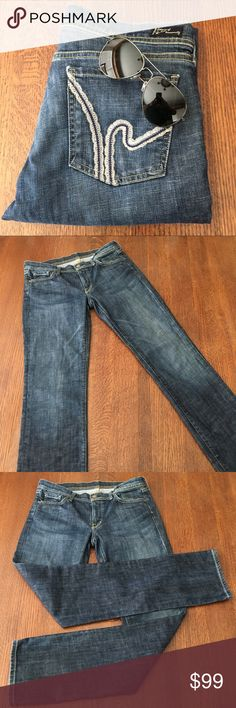 """🆕 Citizens of Humanity   Ava Straight Leg Jeans Blue denim jeans are five pocket style with front zipper fly, metal button & belt loops. Content is 99% Cotton & 1% Elastane. Measurements flat are 16.5"""" waist, 8"""" rise & 34"""" inseam. In excellent condition with NO spots or damage. Citizens Of Humanity Jeans Straight Leg"""