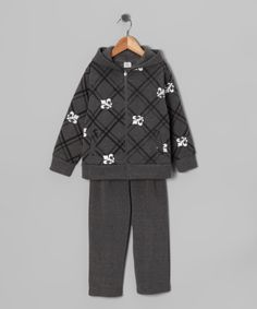 Charcoal Fleur-de-Lis Zip-Up Hoodie & Sweatpants from G & J Sports Co on #zulily! #Fall Essentials
