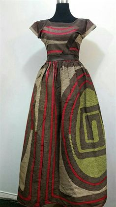 African print maxi dress with leather Fabric by JENNYROSSYCLOTHING                                                                                                                                                                                 More