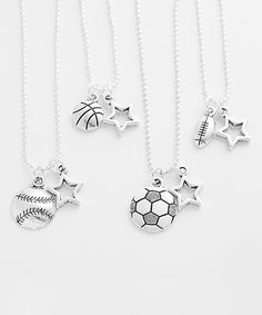 Love this Five Little Birds Silvertone Sports Star Pendant Necklace by Five Little Birds on #zulily! #zulilyfinds