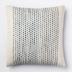 """Embroidered Dot Pillow Cover, 18""""Sq., Blue Lagoon"""