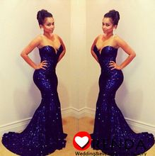 Charmming Sweetheart Sexy Mermaid Blue Sequins Material Formal Evening Prom Dresses 2014 Orenda(China (Mainland))