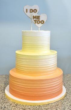 Orange yellow cream white Ombre Wedding Cake Sugarland Chapel Hill Raleigh