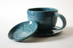 turquoise blue starburst tea gift set with tea by clayandorwood, $32.00