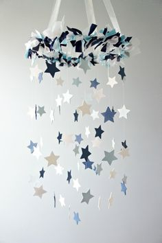 Star Mobile- Blue Nursery Mobile, Shower Gift, Photographer Prop on Luulla