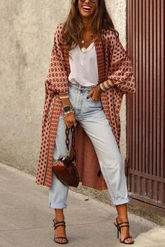 Digital Print Long Sleeve Cardigan Coat - Source by - Casual Work Outfits, Chic Outfits, Fashion Outfits, Fashion Tips, Look Fashion, Autumn Fashion, 90s Fashion, Look Kimono, Elegantes Outfit