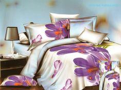 Kremowa pościel z satyny bawełnianej w fioletowe kwiaty