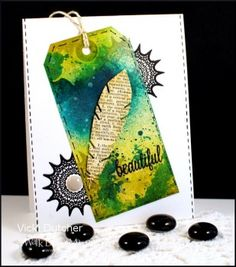 Check out this stunning card featuring a tag by Vicki.