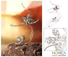 Floral Sterling Silver Wrap Bracelet - Nature's Song | NOVICA