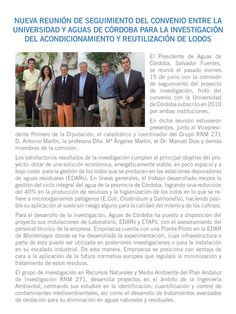 Proyecto I+D+i Aguas de Córdoba-UCO sobre tratamiento de lodos