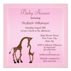 Cute Mom & Baby Giraffe Pink Baby Shower Custom Invitation
