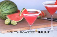 Sweet Summery Watermelon Martini: Super fine sugar to rim the glasses, watermelon, lime, vodka, Ice cubes