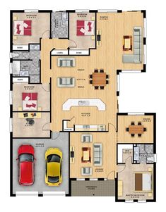 Chateau 5 by Format Homes is a large single storey home. House Floor Design, Beach House Floor Plans, Dream Home Design, Home Design Plans, Luxury House Plans, Best House Plans, Dream House Plans, House Layout Plans, House Layouts