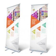 Kleine roll-up banners van 85 x 205 cm bestellen. Kijk op drukzo: http://www.drukzo.nl/content/roll-up-banners-drukken