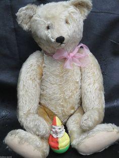 "VERY RARE ANTIQUE STEIFF TEDDY BEAR 1920 HUNCHBACK BUTTON LONG FUR 60cm 23.6"""