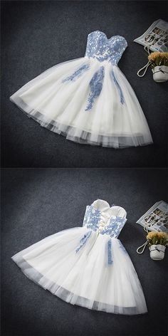 Sweetheart A-line white lace short prom dress,homecoming dresses - Thumbnail 2 #homecomingdresses