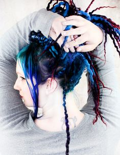 Beautiful, blended and intense colors. These dreads are double ended extensions and can be installed with braid methods, or using latch hook tools. Hair Color Purple, Blue Hair, Eiffel 65, 100 Human Hair Extensions, Mermaid Hair, Sirens, Deep Blue, Bunt, Singing