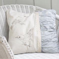 Bird embroidered cushion case