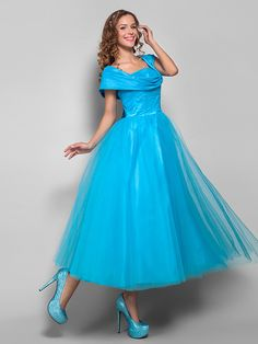 TS Couture® Cocktail Party / Homecoming / Holiday Dress - Vintage Inspired / 1950s Plus Size / Petite Ball Gown Straps Tea-length Tulle with Ruching - USD $89.99
