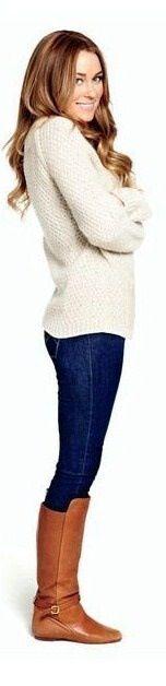 Oversized cream sweater, skinny denim, riding boots