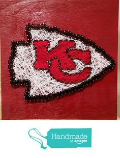 Kansas City Chiefs String Art Sign, Made to Order from Ruby Owl Designs http://www.amazon.com/dp/B0168A7JR2/ref=hnd_sw_r_pi_dp_DqCBwb06VWJH4 #handmadeatamazon