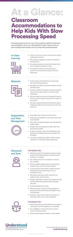 At a Glance: Classroom Accommodations to Help Kids With Slow Processing Speed