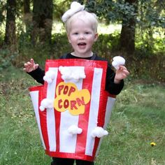 Who would have thought a popcorn tub could be so cute? If you're on the hunt for quick easy Halloween costumes, this Kiddie Sized Popcorn Costume will satisfy your hunger! Pop some popcorn and complete this costume in an afternoon! Glitter Crafts, Tape Crafts, Foam Crafts, Cute Costumes, Halloween Costumes For Kids, Halloween Crafts, Costume Ideas, Purim Costumes, Awesome Costumes