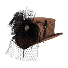 Quite possibly the most elegant hat in existence, the Lush leather top hat features gorgeous obsidian plumage, and a veil of black lace all lovingly draped around an antiqued cameo. #hats #womenshats Leather Top Hat, Fancy Hats, Hats For Women, Veil, Lush, Cowboy Hats, Elegant, Antiques, Tops